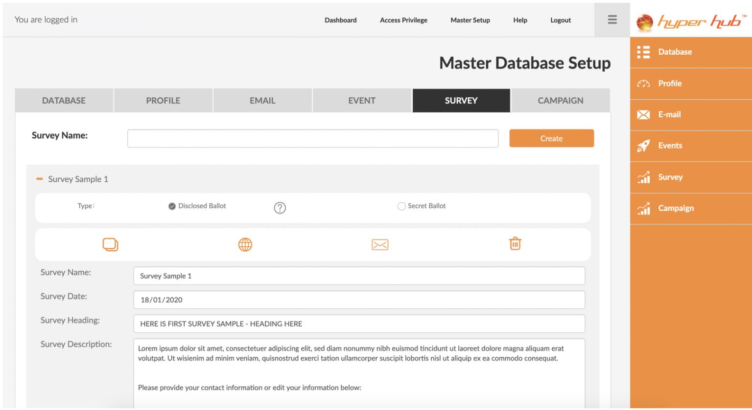 Hyper Hub Survey Module Master Setup